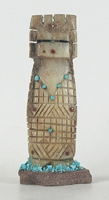 Authentic Native American Maiden Fetish Carving of antler and turquoise by Zuni Carl Etsate