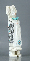 Authentic Native American Maiden Fetish Carving of antler with turquoise and coral by Zuni Michael Laweka