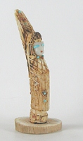 Authentic Native American Warriior Maiden Fetish Carving of antler with turquoise and coral by Zuni Jonathan Quam