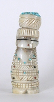 Authentic Native American Maiden Fetish Carving of antler with kachina and sunface of by Zuni Amery Cellicion