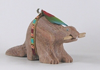 Authentic Native American Beaver Fetish carving of alabaster by Navajo Harold Davidson