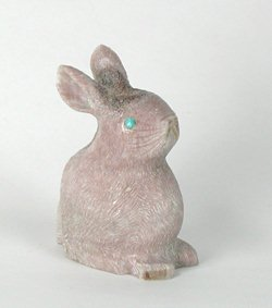 Pinky Willard Laate Zuni Antler Rabbit Fetish Carving