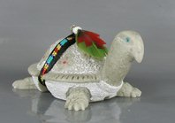 Authentic Native American Navajo turtle fetish carving of alabaster by Harold Davidson
