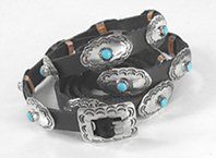 Authentic Native American Sterling Silver and Turquoise Concho Hat Band by Navajo Jimmie Jackson