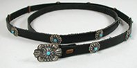 Authentic Native American Sterling Silver and Turquoise Concho Hat Band by Navajo Thomas Charlie
