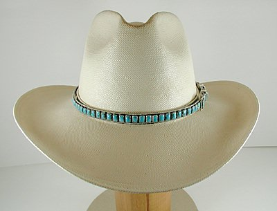 Authentic Native American Sterling Silver and Turquoise Hat Band by Navajo  James Freeland 6c901b0d1a5