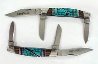 Native American Sterling Silver stone inlay knives