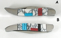 Single blade Pocket knife with inlay handle by Zuni artist Bevis Tsadiasi