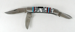 Three blade Pocket knife with inlay handle by Zuni artist Bevis Tsadiasi