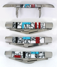 Four Blade Pocket knife with inlay handle by Zuni artist Bevis Tsadiasi