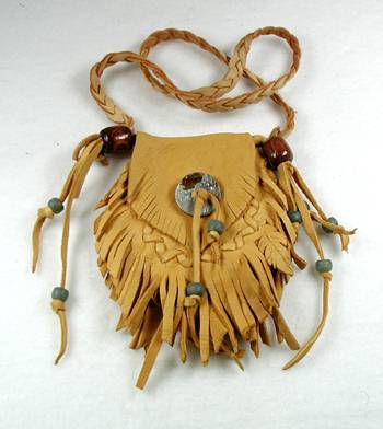 Medicine Bag Of Buckskin By Native American Miami Indian
