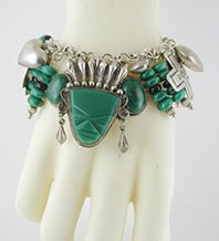 Vintage Mexican Malachite and Onyx hinged Face or Mask bracelets 6 1/2 inch