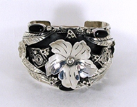 new Mexican sterling silver wide cuff bracelet 7 1/8 inch