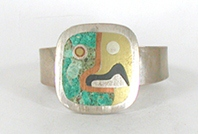 Vintage Mexican Inlay Picasso-style bracelet 6 1/2 inch