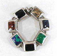Mexican sterling silver Mixed Gemstone Link bracelet size 6 3/8