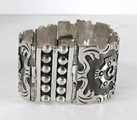 Mexican Wide Sterling Silver Link bracelet size 7 1/4