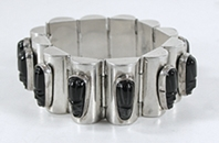 Mexican Sterling Silver and black onyx Link bracelet size 6 1/4