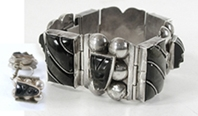 Mexican Sterling Silver and black onyx earrings and link bracelet size 6 1/2