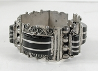 vintagae Mexican Sterling Silver and black onyx hinged link bracelet size 7