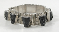 Mexican Sterling Silver and black onyx hinged link bracelet size 6 3/4