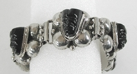 Vintage Mexican Sterling Silver hinged link mask bracelet size 7 1/4 inch