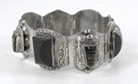 Vintage Mexican Sterling Silver and black onyx hinged link bracelet size 6 3/4