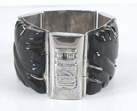 Mexican Sterling Silver and black onyx hinged link bracelet size 6 inch