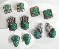 Vintage green onyx Mexican post earrings
