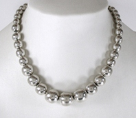 Mexican sterling silver graduated bead necklace - new