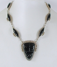 Mexican silver black onyx mask necklace