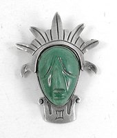 Vintage Mexican sterling silver green onyx mask pin