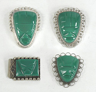 Four Vintage Mexican sterling silver green onyx mask pins