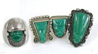Vintage green onyx Mexican rings