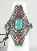 New multi-stone Ring size 8 1/2 - turquoise, coral, lapis