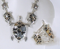 Mexican sterling silver inlay turtles necklace and bracelet set by Manuel Porcayo Figueroa