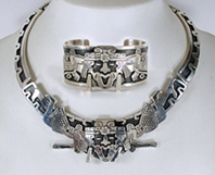 Mexican silver collar and bracelet set