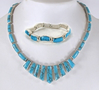 Mexican sterling silver and turquoise Necklace and bracelet set