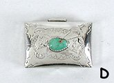 Authentic Navajo sterling silver pill box with turquoise stone