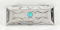 Navajo sterling silver rectangular pill box with turquoise stone by Jeffrey Castillo