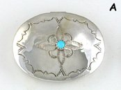 Navajo sterling silver oval pill box with turquoise stone by Jeffrey Castillo