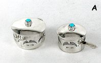 Authentic Native American Sterling Silver and Turquoise Miniature Pot Set by Navajo Elizabeth Whitman