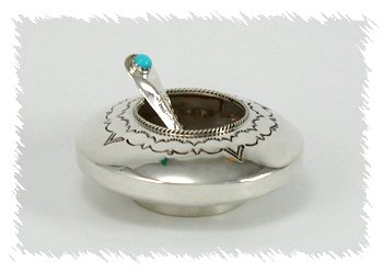 Navajo Sterling Silver Salt Cellar With Spoon