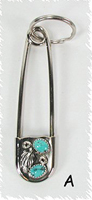 Authentic Native American Sterling Silver and Turquoise Safety Pin Key Ring