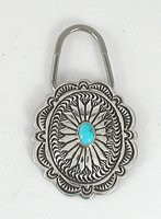 Authentic Native American Sterling Silver and Turquoise Concho Key Ring by Navajo Arnold Blackgoat