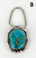 Authentic Native American Navajo Sterling Silver and Turquoise Key Ring by Randall Joe Tom