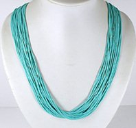 Authentic Native American Jewelry 25 Strand Turquoise Heishi Necklace by Santo Domingo Ramona Bird