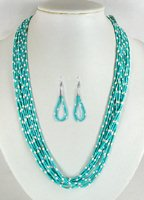 Santo Domingo 10 strand turquoise heishi Necklace by Ramona Bird