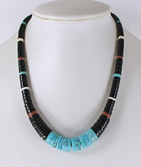 jet, pipestone, and turquoise Heishi Necklace