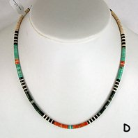 Mixed Stone heishi necklace 17 1/2 inch