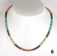 Mixed Stone heishi necklace 17 3/4 inch